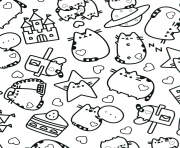 Printable Pusheen Adult stars coloring pages