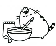 pusheen cooking like a boss coloring pages