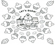 Printable pusheen lets bake coloring pages