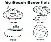 Printable pusheen my beach essentials coloring pages