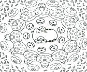 pusheen the cat donuts pattern coloring pages