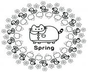 Pusheen Spring coloring pages