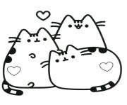 Pusheen in Love Amour coloring pages