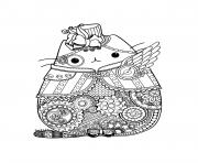 Printable pusheen adult complex zentangle coloring pages