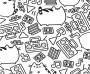 pusheen music pattern adult coloring pages