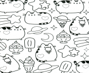Printable Kawaii pusheen coloring pages