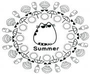Pusheen Summer Ete Plage coloring pages