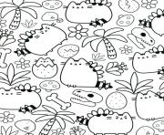 Printable Pusheen Therapy for Adults coloring pages
