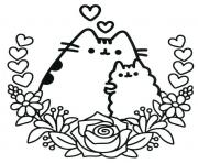 Printable Pusheen the Cat and his friend coloring pages
