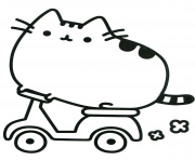 Pusheen Cat on Scooter coloring pages
