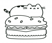 Printable Pusheen Hamburger Food coloring pages