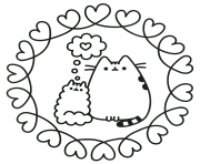 pusheen the cat in love coloring pages