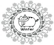 Pusheen Winter coloring pages