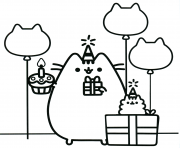 Printable pusheen the cat party coloring pages