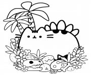 Printable Pusheen Cave Cat coloring pages