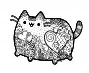 Printable pusheen the cat adult inspired zentangle with mandala coloring pages