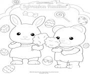 Printable the sylvanian families celebrate easter coloring pages
