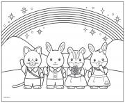 Printable calico critters rainbow with friends coloring pages