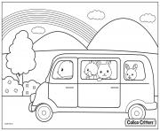 Printable calico critters in the car for trip coloring pages