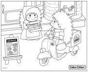 Printable calico critters pizza delivery coloring pages