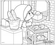 Printable calico critters cooking croissant bread coloring pages