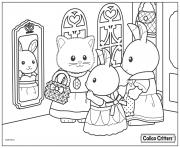 Printable calico critters getting ready for the church coloring pages