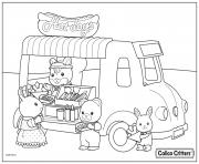 Printable calico critters selling hot dogs coloring pages