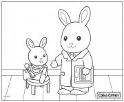 Printable calico critters doctor health coloring pages