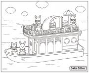 calico critters having fun on the boat