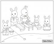 Printable calico critters having fun picnic coloring pages