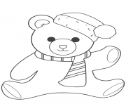 Printable christmas teddy bear coloring pages