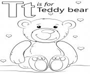 Printable letter t is for teddy bear coloring pages