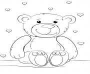 Printable teddy bear valentines love heart coloring pages