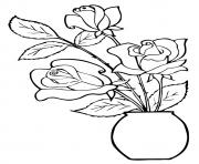 Printable three roses in a pot a4 coloring pages