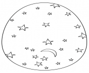 easter egg with stars and moon coloring pages