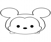 Printable Mickey Mouse Emoji Face Tsum Tsum coloring pages