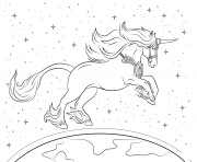 Printable beautiful unicorn planet universe coloring pages