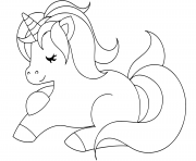Printable cute unicorn sleeping coloring pages