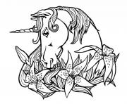 Printable Sweet outline unicorn and lily flowers tattoo design coloring pages