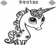 Printable cute unicorn cuty coloring pages