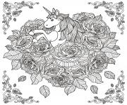 Printable unicorn adult by kchung coloring pages