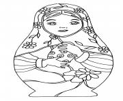 Printable russian dolls 4 coloring pages