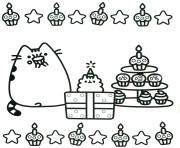 Printable Pusheen cake birthday coloring pages