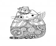Printable Steampunk Pusheen coloring pages