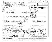 Kool Smiles Crowns and Fillings Activity Sheet coloring pages