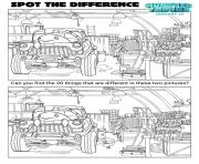 Monster Trucks activity sheets spot the difference coloring pages
