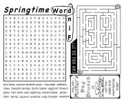 springtime word find activity sheet coloring pages