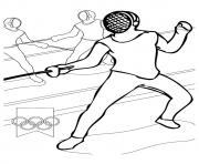Fencing olympic games coloring pages