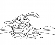 cute bunny with two easter eggs coloring pages