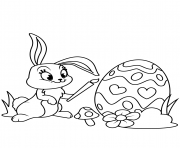 cute easter bunny painting egg coloring pages